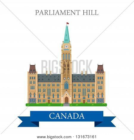 Parliament Hill in Ottawa Ontario Canada vector flat attraction