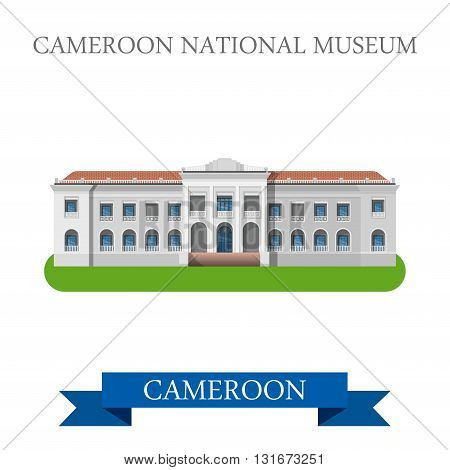 Cameroon National Museum vector flat Africa attraction landmarks