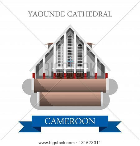 Yaounde Cathedral Cameroon vector flat Africa attraction