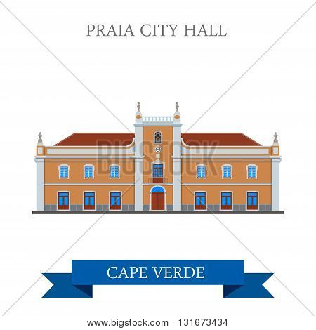 Praia City Hall Cape Verde vector flat Africa attraction