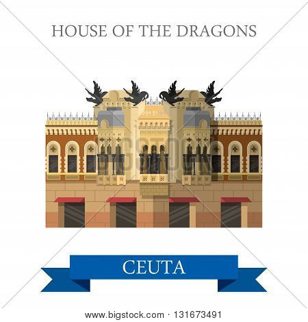 House of the Dragons in Ceuta vector flat Africa attraction