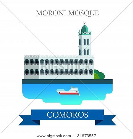 Moroni Mosque in Comoros vector flat Africa attraction landmarks