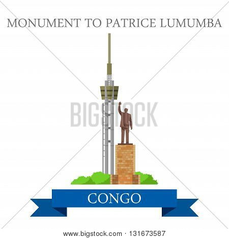 Monument to Patrice Lumumba Congo vector flat Africa attraction