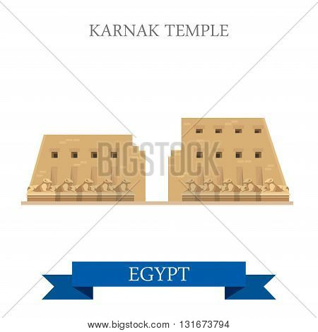 Karnak Temple Luxor Egypt vector flat Africa attraction landmark