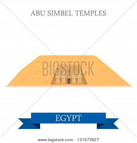 Abu Simbel Temples Egypt vector flat Africa attraction landmarks