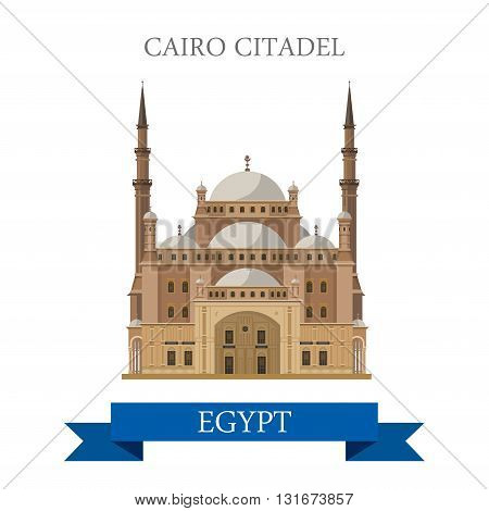 Cairo Citadel in Egypt vector flat Africa attraction landmarks