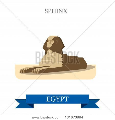 Sphinx in Cairo Egypt vector flat Africa attraction landmarks