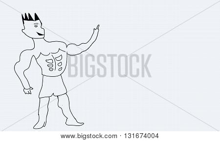 illustration doodle strong man show his muscles