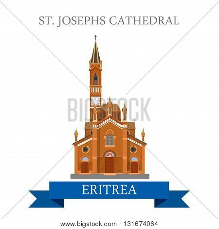 Saint Josephs Cathedral in Eritrea vector flat Africa attraction