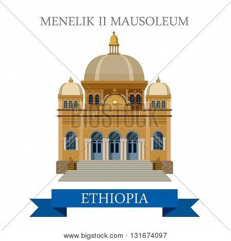 Menelik II Mausoleum in Addis Ababa Ethiopia vector flat Africa