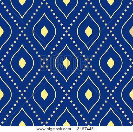 Geometric repeating vector ornament with diagonal dotted lines. Seamless abstract modern pattern. Blue and golden pattern