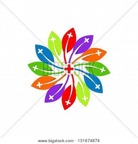 Medical logo icon colorful plant design vector
