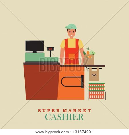 Cashier man smiles and standing in supermarket Sales clerk working with customers at the technology store or departmentFlat vector illustration.