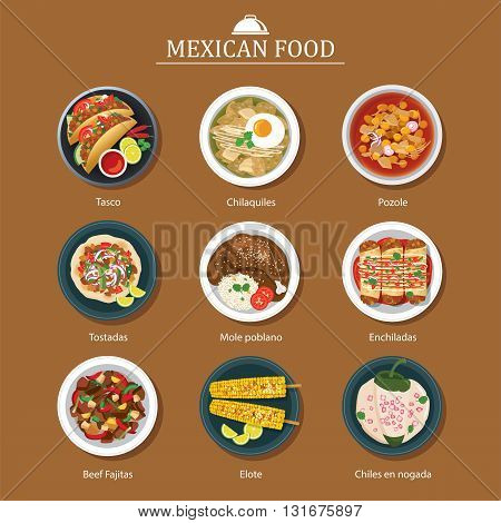 set of mexican food flat design for web and print