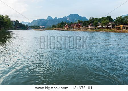 beautiful landscape and Song river of Vang Vieng Laos