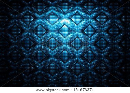 Abstract detailed geometrical ornament on black background. Fantasy fractal texture.