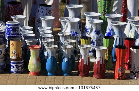 Colorful ceramic pots in market in dalat, vietnam