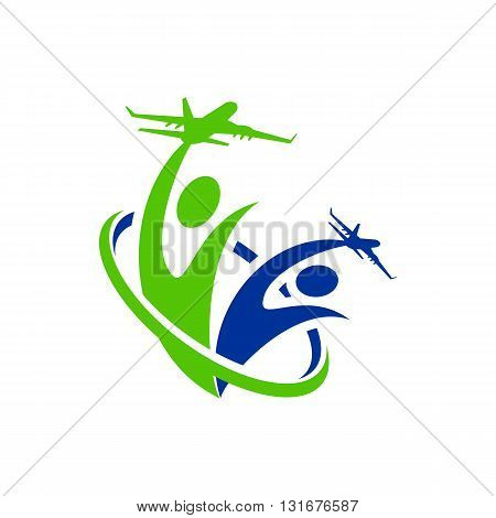 Logo Airplane people line traveling holiday design vector