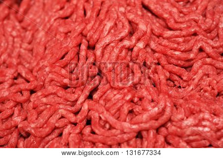 close up on fresh ground beef background