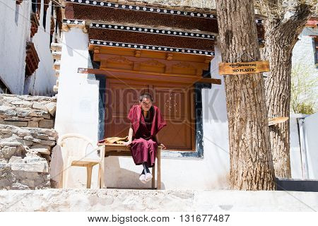 LADAKH, INDIA - MAY 1, 2016: Monk in Hemis monastery in Ladakh, Kashmir, India. Ladakh is sparsely populated regions in Jammu and Kashmir and its culture and history are related to that of Tibet.