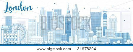 Outline London Skyline with Blue Buildings. Business Travel and Tourism Concept with Modern Buildings. Image for Presentation Banner Placard and Web Site.