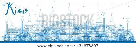 Outline Kiev skyline with blue landmarks. Business travel and tourism concept with historic buildings. Image for presentation, banner, placard and web site.