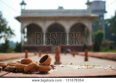 Offering and prayer mandala in front of a building in the Red Fort New Delhi India