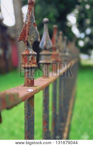 Old fence rusty but standing. New Orleans Louisiana USA