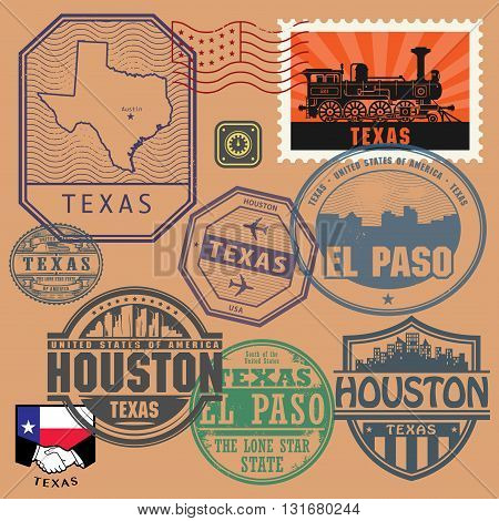 Stamp set with the name and map of Texas, United States, vector illustration