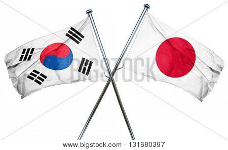 South korea flag  combined with japan flag