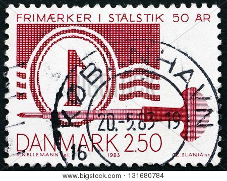 DENMARK - CIRCA 1983: a stamp printed in Denmark dedicated to 50th Anniversary of Steel Plate Printed Stamps circa 1983