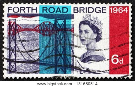 GREAT BRITAIN - CIRCA 1964: a stamp printed in the Great Britain shows Forth Road Bridge Suspension Bridge in East Central Scotland and Railroad Bridge circa 1964