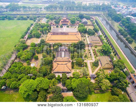 Hue Imperial Royal Palace from drone. Hue, Vietnam.