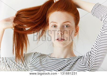 Youth And Happiness Concept. Close Up View Of Beautiful Caucasian Teenage Girl In Sailor Shirt, Look