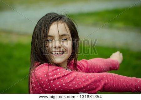 Happy Smiling Small Girl Outdoor