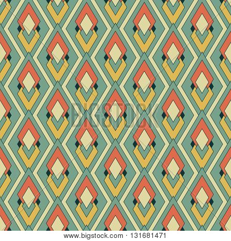 Retro textile pattern, seamless vector illustration, rhombes