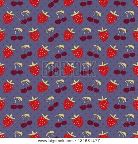 Berry pattern, Seamless vector illustration with cherry and strawberry