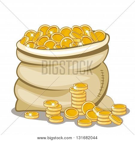 cartoon Moneybag full of gold coins in vector