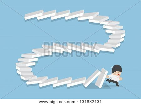 Businessman Escaping From Falling Dominos