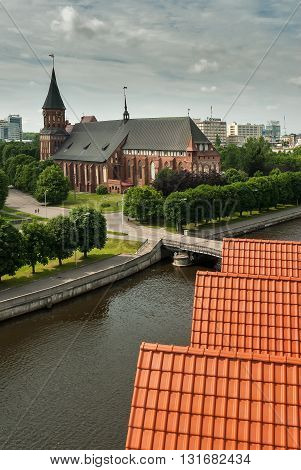 Kaliningrad, Russia - June 21, 2010: Historical center and Cathedral Church on Kant island in Kaliningrad, UNESCO World Heritage Site. View from lighthouse