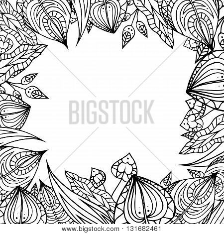 Frame of black and white doodle leaves with zentangle pattern. Vector element for your design.
