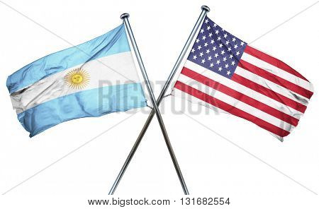 Argentina flag with american flag, isolated on white background