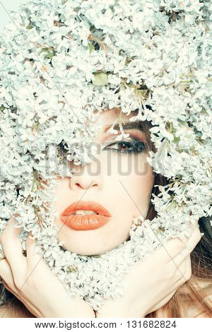 Lilac Flowers Around Girl Face