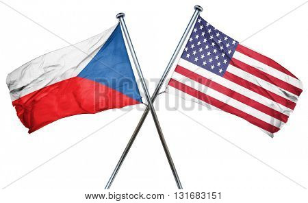 czechoslovakia flag with american flag, isolated on white backgr
