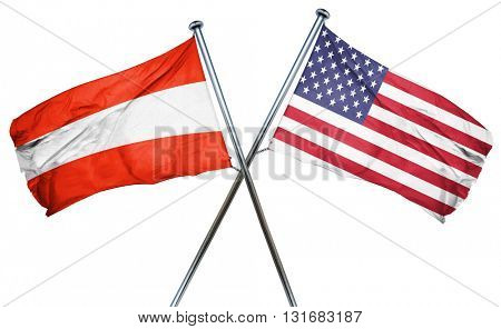 Austria flag with american flag, isolated on white background