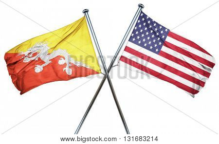 Bhutan flag with american flag, isolated on white background