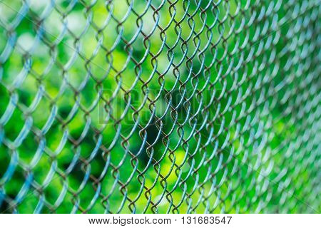 Old wire security fence rusty metallized on sunny day on blurred green background