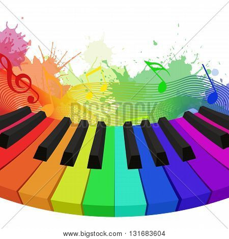 Illustration of rainbow colored piano keys musical notes and watercolor splashes. Vector element for your design