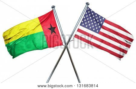 Guinea bissau flag with american flag, isolated on white backgro