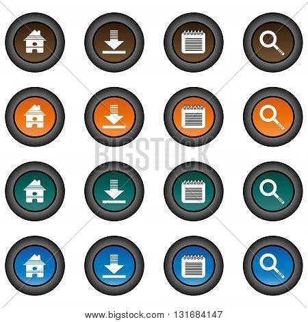Collection of 16 isolated multicolor buttons (icons) - home button, download button, notepad button, zoom button